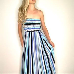 Elsey Striped Strapless Blue, Grey Pleated Dress M